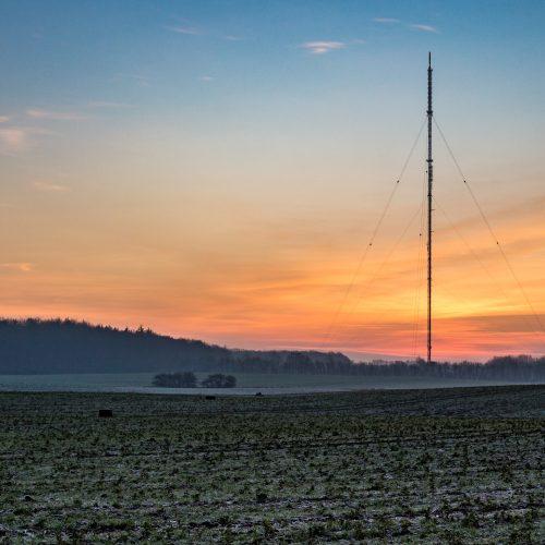 Sender Engelsby im Sonnenaufgang